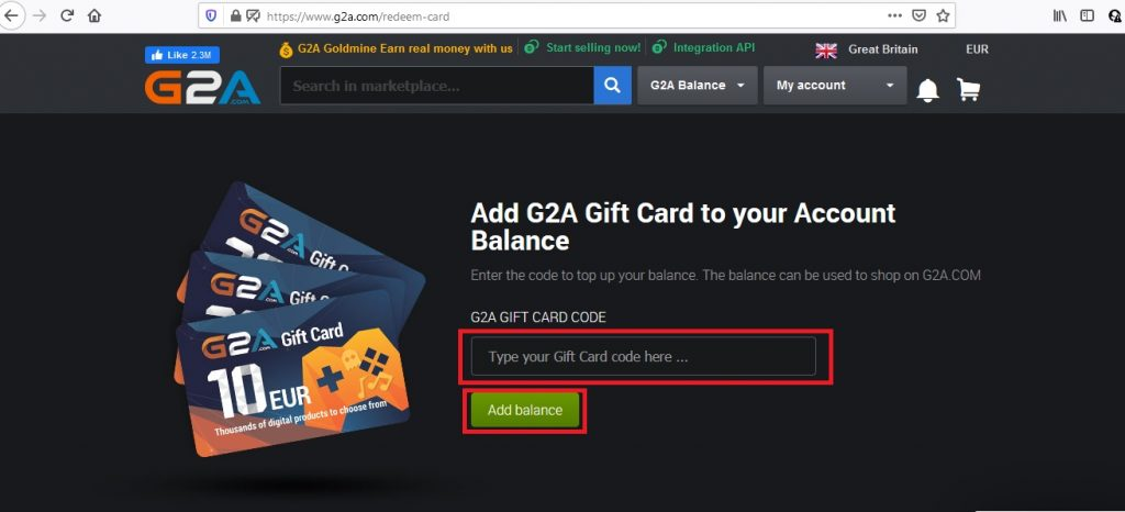 redeem g2a gift card step 2